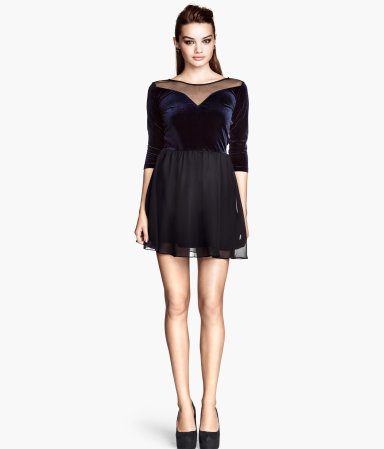 Short Dress - length: mid thigh; neckline: slash/boat neckline; pattern: plain; back detail: back revealing; secondary colour: navy; predominant colour: black; occasions: evening, occasion; fit: fitted at waist & bust; style: fit & flare; fibres: polyester/polyamide - stretch; hip detail: subtle/flattering hip detail; bust detail: contrast pattern/fabric/detail at bust; sleeve length: 3/4 length; sleeve style: standard; texture group: sheer fabrics/chiffon/organza etc.; pattern type: fabric; pattern size: light/subtle; trends: gothic romance; season: a/w 2013