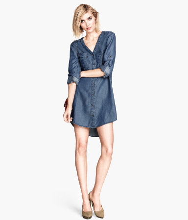 Denim Dress - style: shirt; length: mid thigh; neckline: low v-neck; fit: loose; pattern: plain; predominant colour: denim; occasions: casual, creative work; fibres: viscose/rayon - 100%; back detail: longer hem at back than at front; sleeve length: long sleeve; sleeve style: standard; texture group: denim; pattern type: fabric; season: a/w 2013