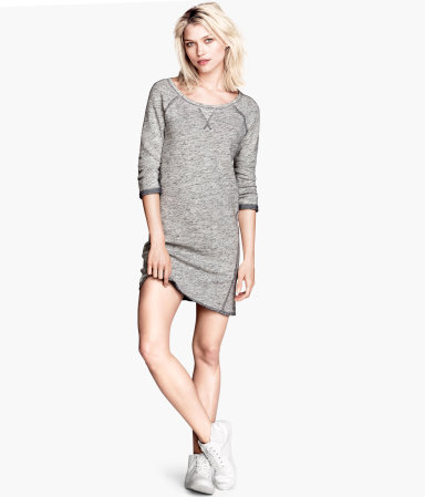 Sweatshirt Dress - style: t-shirt; length: mid thigh; sleeve style: raglan; pattern: plain; predominant colour: light grey; occasions: casual, creative work; fit: body skimming; neckline: scoop; fibres: cotton - mix; sleeve length: 3/4 length; pattern type: fabric; texture group: jersey - stretchy/drapey; season: a/w 2013