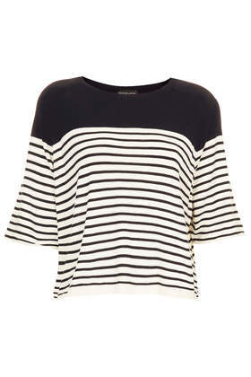 Knitted 1/2 Sleeve Stripe Top - neckline: round neck; pattern: horizontal stripes; secondary colour: white; predominant colour: navy; occasions: casual, work, creative work; length: standard; style: top; fibres: acrylic - mix; fit: loose; sleeve length: half sleeve; sleeve style: standard; texture group: knits/crochet; pattern type: knitted - fine stitch; pattern size: standard; season: a/w 2013