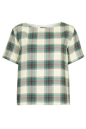 Textured Check Tee - neckline: slash/boat neckline; pattern: checked/gingham; style: t-shirt; predominant colour: ivory/cream; secondary colour: dark green; occasions: casual, creative work; length: standard; fibres: cotton - 100%; fit: straight cut; sleeve length: short sleeve; sleeve style: standard; texture group: cotton feel fabrics; pattern type: fabric; pattern size: standard; season: a/w 2013