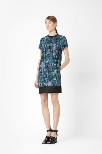 Dress With Silk Details - style: shift; predominant colour: navy; secondary colour: black; occasions: evening, creative work; length: just above the knee; fit: straight cut; fibres: viscose/rayon - 100%; neckline: crew; sleeve length: short sleeve; sleeve style: standard; texture group: silky - light; pattern type: fabric; pattern: patterned/print; season: a/w 2013