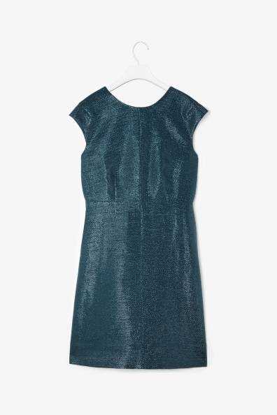 Metallic Dress - style: shift; length: mid thigh; neckline: round neck; sleeve style: capped; fit: tailored/fitted; pattern: plain; predominant colour: dark green; occasions: evening, occasion, creative work; fibres: polyester/polyamide - stretch; sleeve length: short sleeve; texture group: structured shiny - satin/tafetta/silk etc.; pattern type: fabric; trends: broody brights; season: a/w 2013