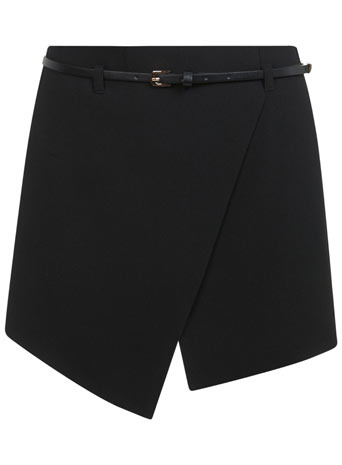 Belted High Waist Skort - length: mini; pattern: plain; fit: tailored/fitted; style: skorts; waist detail: belted waist/tie at waist/drawstring; waist: mid/regular rise; predominant colour: black; occasions: evening, work, creative work; fibres: polyester/polyamide - stretch; pattern type: fabric; texture group: other - light to midweight; season: a/w 2013