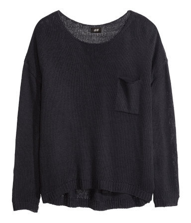 Knitted Jumper - neckline: round neck; pattern: plain; style: standard; predominant colour: black; occasions: casual, creative work; length: standard; fibres: acrylic - 100%; fit: loose; back detail: longer hem at back than at front; sleeve length: long sleeve; sleeve style: standard; texture group: knits/crochet; pattern type: knitted - big stitch; season: a/w 2013