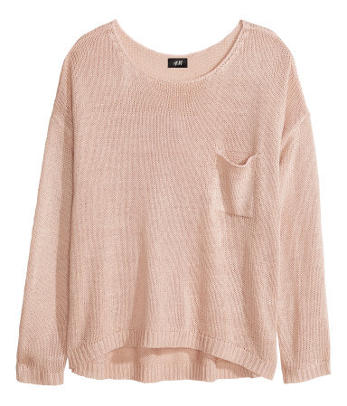 Knitted Jumper - neckline: round neck; pattern: plain; style: standard; predominant colour: nude; occasions: casual, creative work; length: standard; fibres: acrylic - 100%; fit: loose; back detail: longer hem at back than at front; sleeve length: long sleeve; sleeve style: standard; texture group: knits/crochet; pattern type: knitted - big stitch; season: a/w 2013