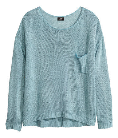 Knitted Jumper - neckline: round neck; pattern: plain; style: standard; predominant colour: pale blue; occasions: casual, creative work; length: standard; fibres: acrylic - 100%; fit: loose; sleeve length: long sleeve; sleeve style: standard; texture group: knits/crochet; pattern type: knitted - big stitch; trends: sorbet shades; season: a/w 2013