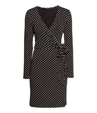 Wrap Dress - style: faux wrap/wrap; neckline: low v-neck; pattern: polka dot; waist detail: belted waist/tie at waist/drawstring; secondary colour: white; predominant colour: black; occasions: casual, evening, creative work; length: just above the knee; fit: body skimming; fibres: viscose/rayon - stretch; sleeve length: long sleeve; sleeve style: standard; pattern type: fabric; pattern size: standard; texture group: jersey - stretchy/drapey; season: a/w 2013