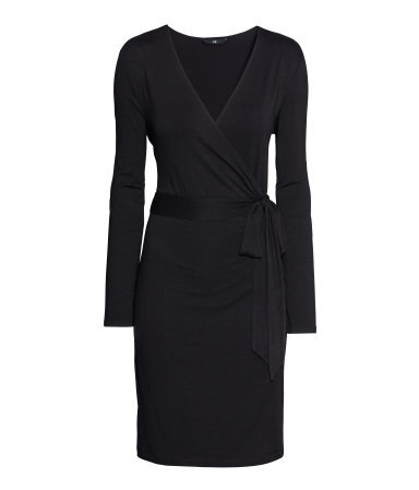 Wrap Dress - style: faux wrap/wrap; neckline: v-neck; pattern: plain; waist detail: belted waist/tie at waist/drawstring; predominant colour: black; occasions: casual, evening, work, creative work; length: just above the knee; fit: body skimming; fibres: viscose/rayon - stretch; sleeve length: long sleeve; sleeve style: standard; pattern type: fabric; texture group: jersey - stretchy/drapey; season: a/w 2013