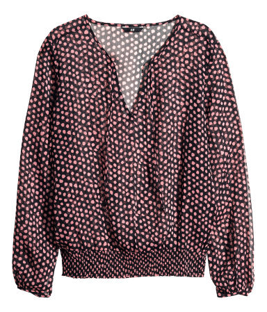 Chiffon Blouse - neckline: low v-neck; style: blouson; secondary colour: pink; predominant colour: black; occasions: casual, evening, creative work; length: standard; fibres: polyester/polyamide - 100%; fit: loose; sleeve length: long sleeve; sleeve style: standard; texture group: sheer fabrics/chiffon/organza etc.; pattern type: fabric; pattern: patterned/print; season: a/w 2013; pattern size: big & busy (top)