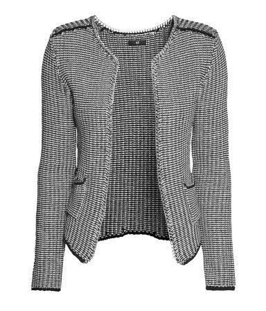 Fine Knit Cardigan - pattern: checked/gingham; neckline: collarless open; shoulder detail: contrast pattern/fabric at shoulder; style: open front; secondary colour: light grey; predominant colour: black; occasions: casual; length: standard; fibres: cotton - 100%; fit: standard fit; sleeve length: long sleeve; sleeve style: standard; texture group: knits/crochet; pattern type: knitted - other; pattern size: light/subtle; season: a/w 2013; trends: monochrome
