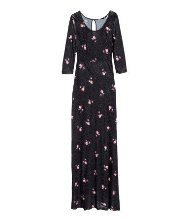 Jersey Dress - style: maxi dress; secondary colour: pink; predominant colour: navy; occasions: casual, evening, holiday, creative work; length: floor length; fit: body skimming; neckline: scoop; fibres: viscose/rayon - 100%; sleeve length: 3/4 length; sleeve style: standard; pattern type: fabric; pattern size: standard; pattern: florals; texture group: jersey - stretchy/drapey; season: a/w 2013