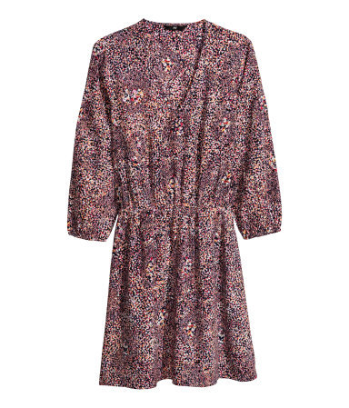 Satin Dress - style: tunic; length: mid thigh; neckline: low v-neck; fit: fitted at waist; predominant colour: purple; occasions: casual, evening, creative work; fibres: polyester/polyamide - 100%; sleeve length: 3/4 length; sleeve style: standard; texture group: structured shiny - satin/tafetta/silk etc.; pattern type: fabric; pattern size: standard; pattern: patterned/print; secondary colour: dusky pink; trends: art-party prints; season: a/w 2013