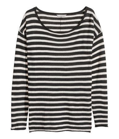 + Fine Knit Jumper - neckline: round neck; pattern: horizontal stripes; style: standard; secondary colour: ivory/cream; predominant colour: black; occasions: casual, work, creative work; length: standard; fibres: cotton - mix; fit: standard fit; sleeve length: long sleeve; sleeve style: standard; texture group: knits/crochet; pattern type: knitted - fine stitch; pattern size: standard; season: a/w 2013; trends: monochrome