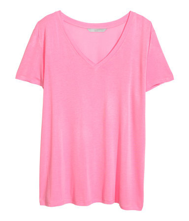 + V Neck T Shirt - neckline: low v-neck; pattern: plain; style: t-shirt; predominant colour: hot pink; occasions: casual, holiday, creative work; length: standard; fibres: viscose/rayon - 100%; fit: loose; sleeve length: short sleeve; sleeve style: standard; pattern type: fabric; texture group: jersey - stretchy/drapey; season: a/w 2013