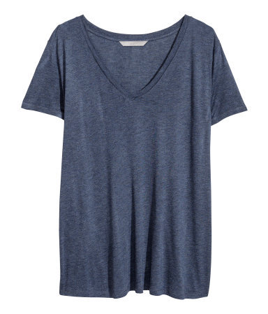 + V Neck T Shirt - neckline: low v-neck; pattern: plain; style: t-shirt; predominant colour: denim; occasions: casual, work, creative work; length: standard; fibres: viscose/rayon - 100%; fit: loose; sleeve length: short sleeve; sleeve style: standard; pattern type: fabric; texture group: jersey - stretchy/drapey; season: a/w 2013