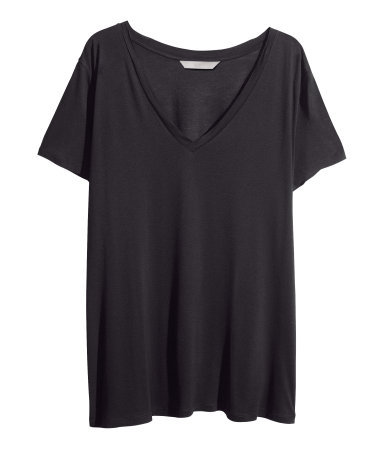 + V Neck T Shirt - neckline: v-neck; pattern: plain; style: t-shirt; predominant colour: black; occasions: casual, work, creative work; length: standard; fibres: viscose/rayon - 100%; fit: loose; sleeve length: short sleeve; sleeve style: standard; pattern type: fabric; texture group: jersey - stretchy/drapey; season: a/w 2013