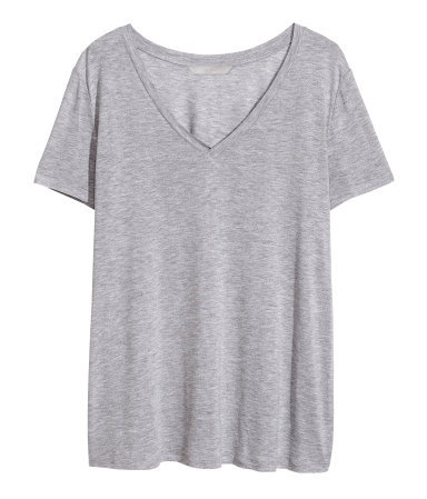+ V Neck T Shirt - neckline: v-neck; pattern: plain; style: t-shirt; predominant colour: light grey; occasions: casual; length: standard; fibres: viscose/rayon - 100%; fit: loose; sleeve length: short sleeve; sleeve style: standard; pattern type: fabric; texture group: jersey - stretchy/drapey; season: a/w 2013