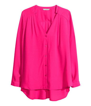 + Chiffon Blouse - pattern: plain; style: blouse; predominant colour: hot pink; occasions: casual, evening, work, creative work; length: standard; neckline: collarstand & mandarin with v-neck; fibres: polyester/polyamide - 100%; fit: loose; back detail: longer hem at back than at front; sleeve length: long sleeve; sleeve style: standard; texture group: sheer fabrics/chiffon/organza etc.; pattern type: fabric; season: a/w 2013