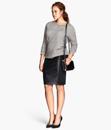 + Pencil Skirt - pattern: plain; style: pencil; fit: tailored/fitted; waist: mid/regular rise; predominant colour: black; occasions: casual, evening, work, occasion, creative work; length: just above the knee; fibres: polyester/polyamide - 100%; texture group: leather; season: a/w 2013