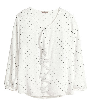 + Chiffon Blouse - neckline: v-neck; style: blouse; pattern: polka dot; predominant colour: ivory/cream; secondary colour: light grey; occasions: casual, work, creative work; length: standard; fibres: polyester/polyamide - 100%; fit: loose; sleeve length: long sleeve; sleeve style: standard; texture group: sheer fabrics/chiffon/organza etc.; bust detail: bulky details at bust; pattern type: fabric; season: a/w 2013; pattern size: big & busy (top); wardrobe: highlight