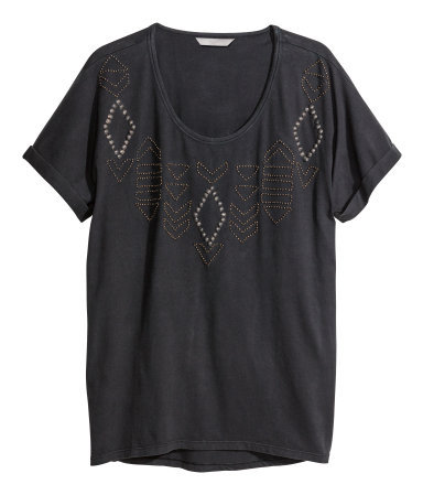 + Beaded Top - pattern: plain; style: t-shirt; predominant colour: charcoal; occasions: casual, holiday, creative work; length: standard; neckline: scoop; fibres: cotton - 100%; fit: loose; sleeve length: short sleeve; sleeve style: standard; pattern type: fabric; texture group: jersey - stretchy/drapey; embellishment: beading; trends: world traveller; season: a/w 2013