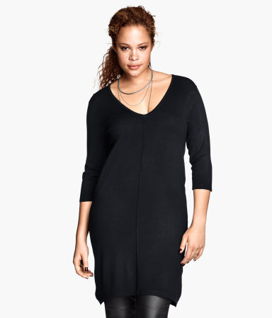+ Knitted Tunic - neckline: v-neck; pattern: plain; style: tunic; predominant colour: black; occasions: casual, creative work; fit: body skimming; length: mid thigh; sleeve length: 3/4 length; sleeve style: standard; texture group: knits/crochet; pattern type: knitted - fine stitch; fibres: viscose/rayon - mix; season: a/w 2013