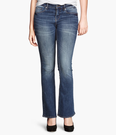 + Bootcut Low Jeans - style: bootcut; length: standard; pattern: plain; pocket detail: traditional 5 pocket; waist: mid/regular rise; predominant colour: denim; occasions: casual, creative work; fibres: cotton - stretch; jeans detail: whiskering, shading down centre of thigh, washed/faded; texture group: denim; pattern type: fabric; season: a/w 2013