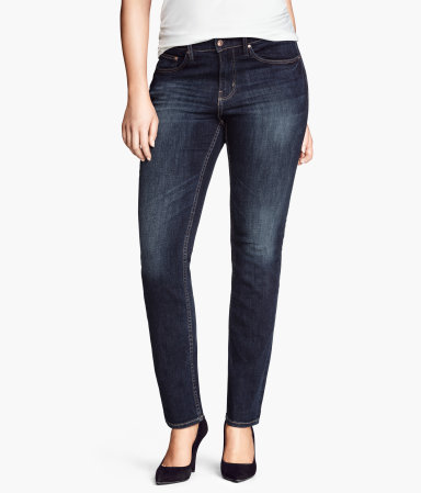 + Straight Regular Jeans - style: straight leg; length: standard; pattern: plain; pocket detail: traditional 5 pocket; waist: mid/regular rise; predominant colour: navy; occasions: casual, evening, creative work; fibres: cotton - stretch; jeans detail: whiskering, shading down centre of thigh, dark wash, washed/faded; texture group: denim; pattern type: fabric; season: a/w 2013