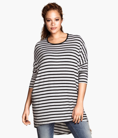 + Tunic - neckline: round neck; sleeve style: dolman/batwing; pattern: horizontal stripes; style: tunic; secondary colour: white; predominant colour: black; occasions: casual, holiday, creative work; fibres: viscose/rayon - stretch; fit: loose; length: mid thigh; back detail: longer hem at back than at front; sleeve length: 3/4 length; pattern type: fabric; texture group: jersey - stretchy/drapey; season: a/w 2013; trends: monochrome; pattern size: big & busy (top)