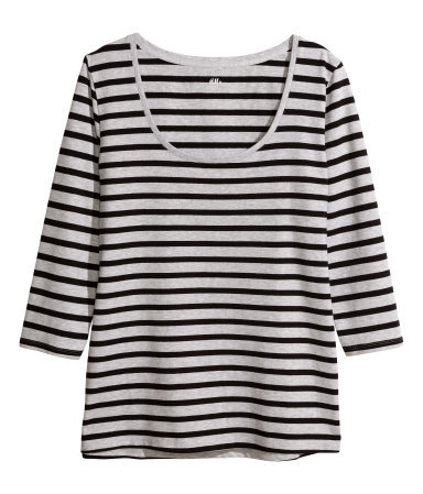 + Jersey Top - pattern: horizontal stripes; style: t-shirt; secondary colour: light grey; predominant colour: black; occasions: casual, creative work; length: standard; neckline: scoop; fibres: polyester/polyamide - stretch; fit: loose; sleeve length: 3/4 length; sleeve style: standard; texture group: jersey - clingy; pattern type: fabric; season: a/w 2013; trends: monochrome; pattern size: big & busy (top)