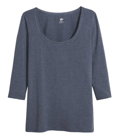 + Jersey Top - pattern: plain; style: t-shirt; predominant colour: charcoal; occasions: casual, creative work; length: standard; neckline: scoop; fibres: polyester/polyamide - stretch; fit: loose; sleeve length: 3/4 length; sleeve style: standard; texture group: jersey - clingy; pattern type: fabric; season: a/w 2013