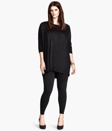 + Leggings - pattern: plain; style: leggings; waist detail: elasticated waist; waist: mid/regular rise; predominant colour: black; occasions: casual, evening, creative work; length: ankle length; fibres: cotton - stretch; texture group: jersey - clingy; fit: skinny/tight leg; pattern type: fabric; season: a/w 2013