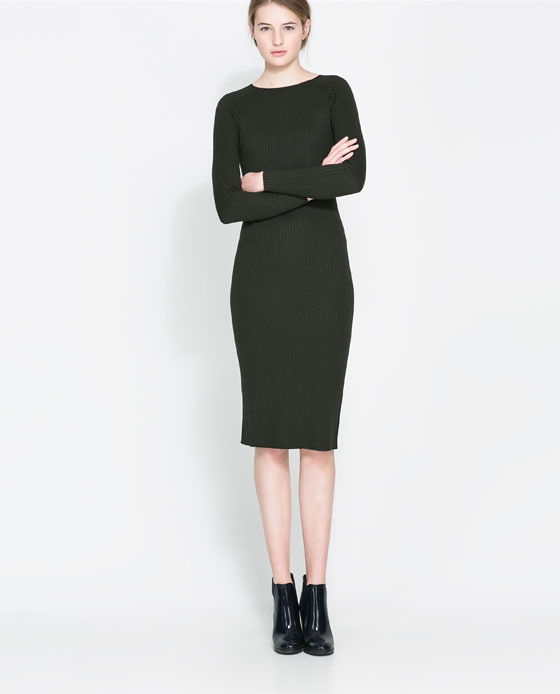 Ribbed Dress - style: shift; fit: tight; pattern: plain; predominant colour: black; occasions: casual, evening, work, creative work; length: on the knee; fibres: viscose/rayon - stretch; neckline: crew; sleeve length: long sleeve; sleeve style: standard; texture group: knits/crochet; season: a/w 2013
