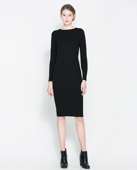 Ribbed Dress - style: shift; pattern: plain; predominant colour: black; occasions: casual, evening, work, occasion, creative work; length: on the knee; fit: body skimming; neckline: crew; sleeve length: long sleeve; sleeve style: standard; texture group: knits/crochet; fibres: viscose/rayon - mix; season: a/w 2013