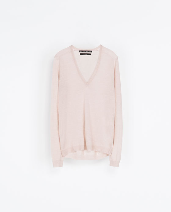 Merino Wool Sweater - neckline: low v-neck; pattern: plain; style: standard; predominant colour: blush; occasions: casual, work, creative work; length: standard; fibres: wool - 100%; fit: loose; back detail: longer hem at back than at front; sleeve length: long sleeve; sleeve style: standard; texture group: knits/crochet; pattern type: knitted - fine stitch; season: a/w 2013