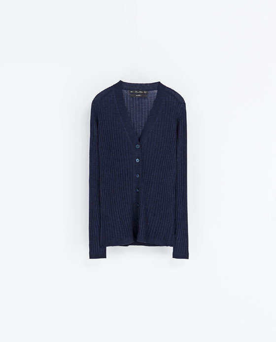 Ribbed Cardigan - neckline: low v-neck; pattern: plain; predominant colour: navy; occasions: casual, creative work; length: standard; style: standard; fibres: wool - 100%; fit: standard fit; sleeve length: long sleeve; sleeve style: standard; texture group: knits/crochet; pattern type: knitted - fine stitch; season: a/w 2013