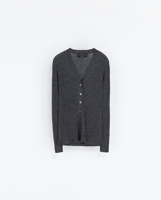 Ribbed Cardigan - neckline: low v-neck; pattern: plain; predominant colour: charcoal; occasions: casual, work, creative work; length: standard; style: standard; fibres: wool - 100%; fit: standard fit; sleeve length: long sleeve; sleeve style: standard; texture group: knits/crochet; pattern type: knitted - fine stitch; season: a/w 2013