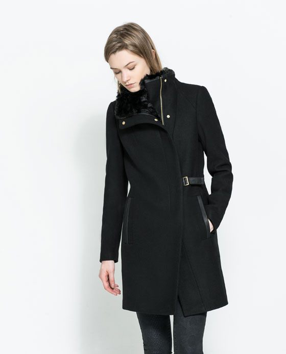 Coat With Wraparound Collar - pattern: plain; collar: funnel; style: double breasted; length: mid thigh; predominant colour: black; occasions: casual, evening, work, creative work; fit: tailored/fitted; fibres: wool - mix; waist detail: belted waist/tie at waist/drawstring; sleeve length: long sleeve; sleeve style: standard; collar break: high/illusion of break when open; pattern type: fabric; texture group: woven bulky/heavy; season: a/w 2013