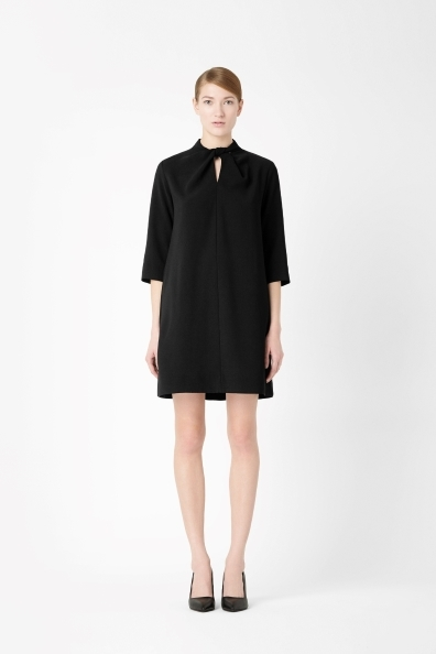A Line Crepe Dress - style: shift; length: mid thigh; pattern: plain; neckline: high neck; predominant colour: black; occasions: casual, evening, work, creative work; fit: soft a-line; fibres: polyester/polyamide - 100%; sleeve length: 3/4 length; sleeve style: standard; texture group: crepes; pattern type: fabric; season: a/w 2013