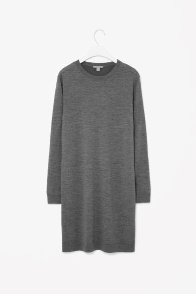 Wool Dress With Silk Back - style: jumper dress; neckline: round neck; fit: loose; pattern: plain; predominant colour: mid grey; occasions: casual, creative work; length: just above the knee; fibres: wool - 100%; sleeve length: long sleeve; sleeve style: standard; texture group: knits/crochet; pattern type: knitted - fine stitch; season: a/w 2013