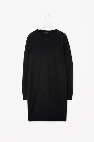 Wool Dress With Silk Back - style: tunic; length: mid thigh; fit: loose; pattern: plain; predominant colour: black; occasions: casual, evening, creative work; fibres: silk - 100%; neckline: crew; sleeve length: long sleeve; sleeve style: standard; texture group: knits/crochet; pattern type: fabric; season: a/w 2013