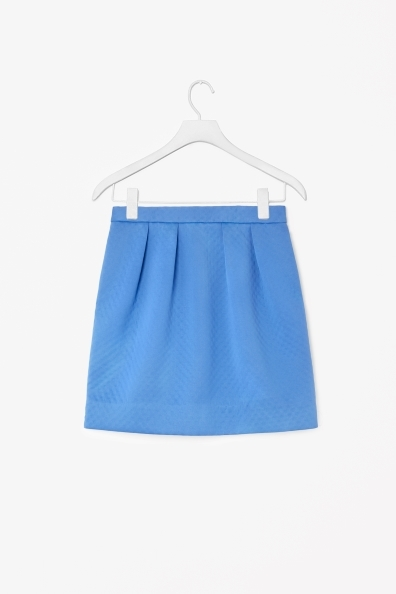 Textured Scuba Skirt - length: mid thigh; pattern: plain; fit: loose/voluminous; style: pleated; waist: mid/regular rise; predominant colour: diva blue; occasions: casual, evening, occasion, creative work; fibres: polyester/polyamide - mix; texture group: woven light midweight; trends: hot brights, sorbet shades; season: a/w 2013