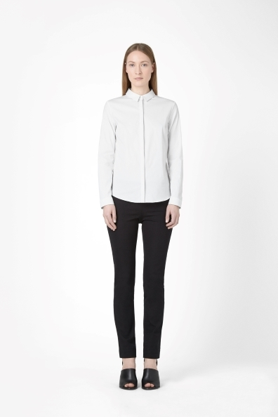 Slim Fit Shirt - neckline: shirt collar/peter pan/zip with opening; pattern: plain; style: shirt; predominant colour: white; occasions: casual, evening, work, creative work; length: standard; fibres: cotton - stretch; fit: straight cut; sleeve length: long sleeve; sleeve style: standard; texture group: cotton feel fabrics; pattern type: fabric; season: a/w 2013