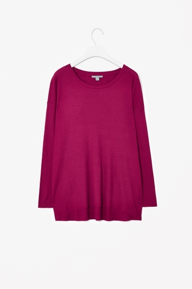 Wool Mix Jersey Top - neckline: round neck; pattern: plain; length: below the bottom; predominant colour: hot pink; occasions: casual, creative work; style: top; fit: loose; sleeve length: long sleeve; sleeve style: standard; texture group: knits/crochet; pattern type: fabric; fibres: viscose/rayon - mix; season: a/w 2013