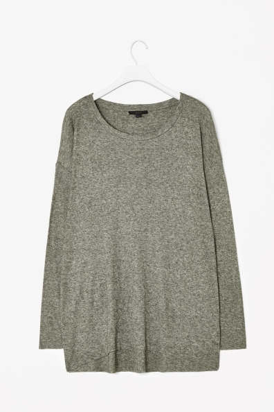 Wool Mix Jersey Top - neckline: round neck; pattern: plain; length: below the bottom; predominant colour: mid grey; occasions: casual, creative work; style: top; fit: loose; sleeve length: long sleeve; sleeve style: standard; pattern type: fabric; texture group: jersey - stretchy/drapey; fibres: viscose/rayon - mix; season: a/w 2013