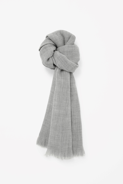 Wool Melange Scarf - predominant colour: light grey; occasions: casual, work, creative work; style: regular; size: standard; material: fabric; pattern: plain; season: a/w 2013