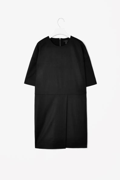 Pleat Detail Dress - style: shift; neckline: round neck; pattern: plain; predominant colour: black; occasions: casual, evening, work, creative work; length: just above the knee; fit: straight cut; fibres: wool - mix; sleeve length: 3/4 length; sleeve style: standard; texture group: woven light midweight; season: a/w 2013