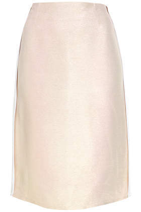Lurex Shimmer Pencil Skirt - pattern: plain; style: pencil; fit: tailored/fitted; waist: high rise; predominant colour: ivory/cream; occasions: casual, evening, work, occasion, creative work; length: on the knee; fibres: viscose/rayon - stretch; pattern type: fabric; texture group: other - light to midweight; trends: sorbet shades; season: a/w 2013