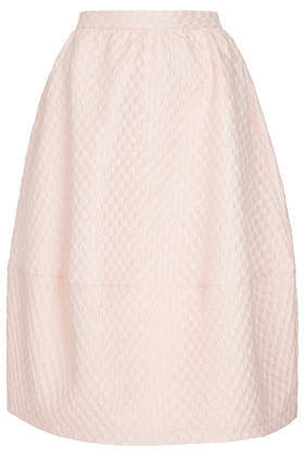 Bubble Jacquard Midi Skirt - length: below the knee; pattern: plain; style: tulip; fit: loose/voluminous; waist: high rise; predominant colour: blush; occasions: casual, evening, occasion, creative work; fibres: cotton - mix; pattern type: fabric; texture group: brocade/jacquard; trends: sorbet shades; season: a/w 2013